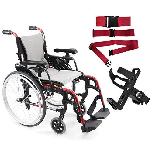 Karman S-Ergo 305 Ultra Lightweight Ergonomic Wheelchair | Seat Size 16' X 17' | Frame Color Rose Red and Free Red Wheelchair Seatbelt & Black Bottle Holder!