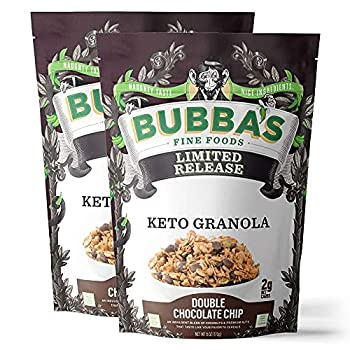 Bubba s Foods Keto Granola   2g Net Carbs Healthy Keto Cereal   Vegan Gluten Free Low Sugar   Double Chocolate Chip 6oz  Pack of 2