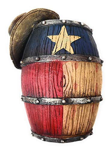 Western Rustic Cowboy Hat on Barrel with Texas Flag Piggy Bank