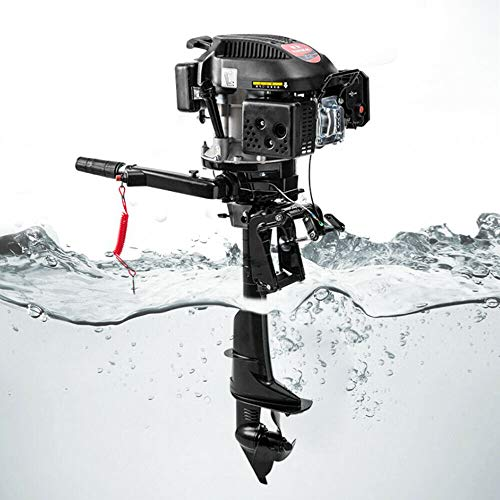 6HP 4 Stroke Outboard Motor Boat Engine Heavy Duty Outboard Motor with Air Cooling System Superior Outboard Motor Gas Boat Fishing Boat Engine for Aquaculture Fishing Outdoor Adventure