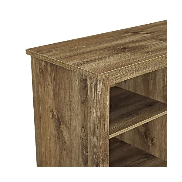 Walker Edison Wood 58″ Console   Flat-Panel TV's up to 64″   4 Storage Shelves   Charcoal & Industrial Modern Rectangle Metal Base and Wood Coffee Table Living Room Accent Ottoman, 48 Inch, Charcoal