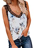 BLENCOT Women Ladies Sexy V Neck Lace Strappy Cami Tank Tops Floral Casual Loose Sleeveless Blouse Shirts White L
