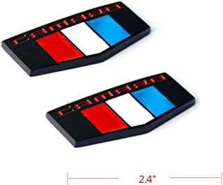 Yoaoo 2x OEM Camaro M Emblems Badge Front Right Left Fender 3D for Camaro Ss Rs Zl1 Matte Black Red