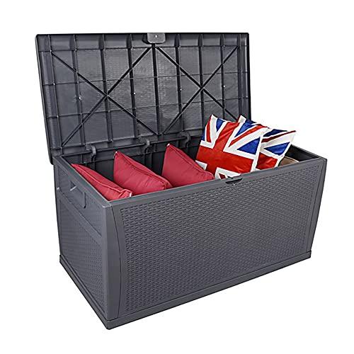 YANGMAN Gartenbox,Auflagenbox, 120 x 61 x 63 cm Kissenbox Wasserabweisend Gartentruhe 460 Liter Stauraum Aufbewahrungsbox für Sitzauflagen, Gartengeräte Oder Kinderspielzeug,Grau