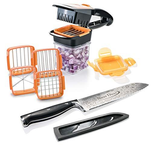 Genius Nicer Dicer Knife Professional (9 Teile) Großes Set mit Messer (Klingenlänge 20 cm) und Nicer Dicer Quick inkl. Auffangbehälter zum Frischhalten