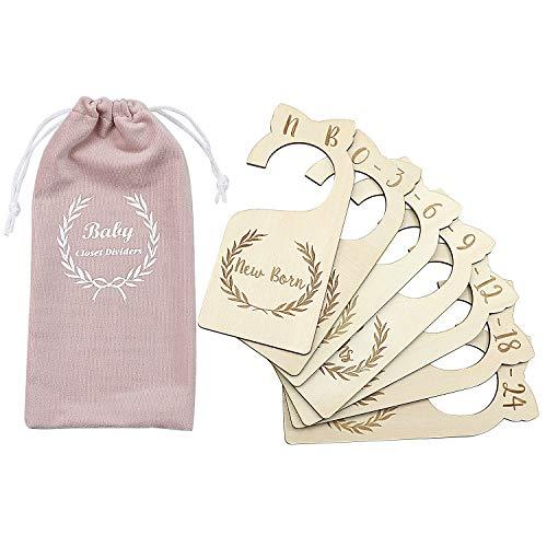 Premium Holz Baby Garderobe Trennwände, 7er-Set, von Neugeborenen bis 24 Monate, Baby Closet Organizer, Kinderzimmer Dekor, Baby Kleidung Organizer (Style1)