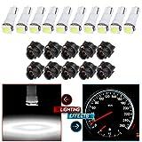 cciyu 10x Car T5 5050 1SMD Wedge Xenon White LED w/Black Twist Sockets 17 37 70 Instrument Panel Cluster Plug Lamp Dash Light Bulb