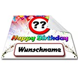 SHIRT-TO-GO Geburtstagsbanner Individuell mit Namen und Jahreszahl zum 30. 40. 50. 60. 70. Geburtstag 1,30m x 1m PVC Banner auch für außen