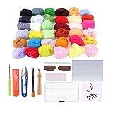 Yuhtech Kit básico de fieltro de aguja, 36 colores de lana de fieltro con herramienta de fieltro de aguja para hacer girar a mano, proyectos de manualidades para principiantes y adultos