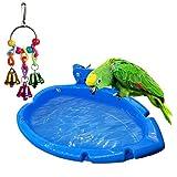 Guangyu Bañera para Parrot, Ducha para Pájaros,Bañera Piscina Comedero para Pájaros con Juguete para Pájaros