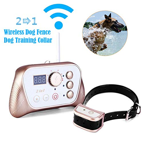 JUSTPET 2 in 1 System of Wireless Fence Dog Containment Training System, Stable Signal Electric Wireless Pet Fence, Beep/Vibrate/Shock Rechargeable Waterproof Collar
