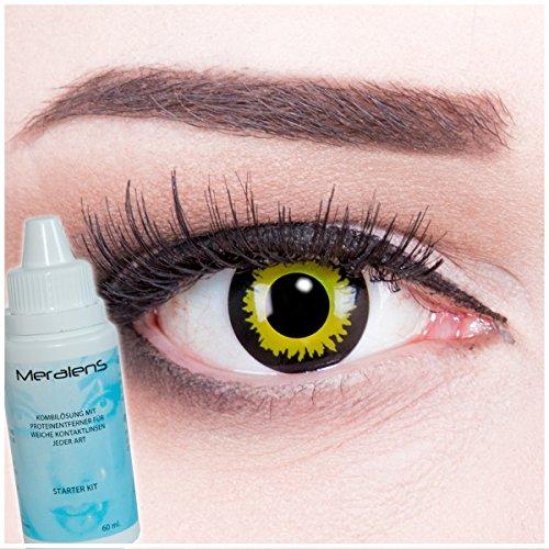 Meralens mehrfarbige Kontaktlinsen, Eclipse mit Pflegemittel ohne Stärke, 1er Pack (1 x 2 Stück)