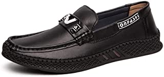 SHENTIANWEI Driving Loafers for Men Boat Shoes Slip on Style Genuine Leather Flats Solid Color Lightweight Round Toe Outdoor Casual (Color : Black 3, Size : 9.5 UK)