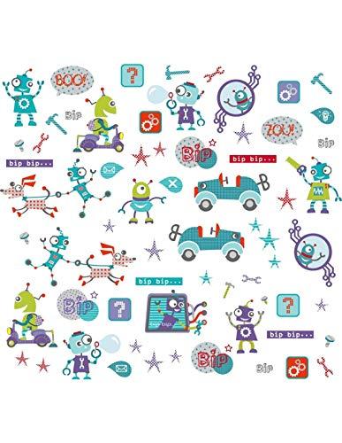 DECOLOOPIO - Grande Planche de 50 Stickers Robots