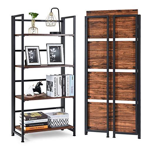 "Giantex 4-Tier Folding Bookshelf Standing Shelf Units Display Rack Storage Shelf Industrial Style Utility Shelving with Metal Frame & Wood Layer (Rustic Brown, 23.5"" LX12 X49.5 H)"