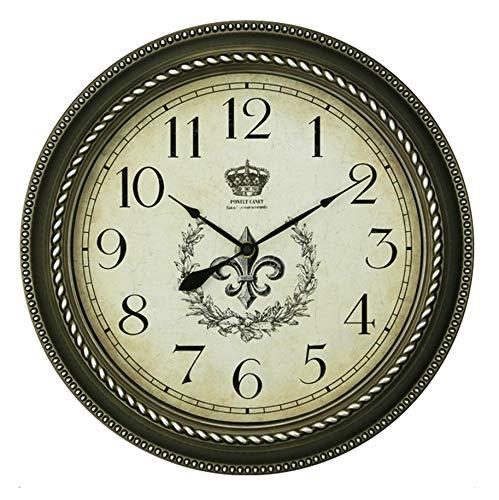 William 337 Horloge Murale Non-Ticking Vintage Rétro Style Européen Rustique Décoratif pour Le Salon Home Decor Frame Quartz (Couleur : B)