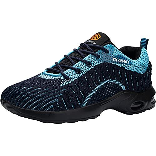 DYKHMATE Zapatillas de Seguridad Mujer Ligero Colchón de Aire Zapatos de Seguridad Trabajo Transpirable Punta de Acero Calzado de Seguridad Deportivo (Azul etéreo,40 EU)