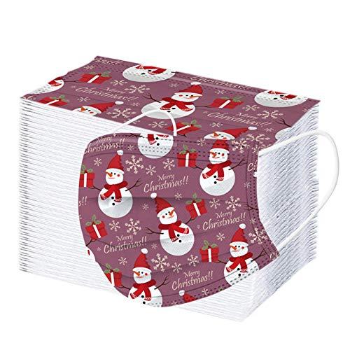 ZHX 50/100 Stück 3-lagig Erwachsenenmäske mit Weihnachten Motiv Mund und Nasenschutz,Einweg-Gesichtsabdeckung Staubdich Outdoor Mundschutz Halstuch für Kinder (100PC-E)