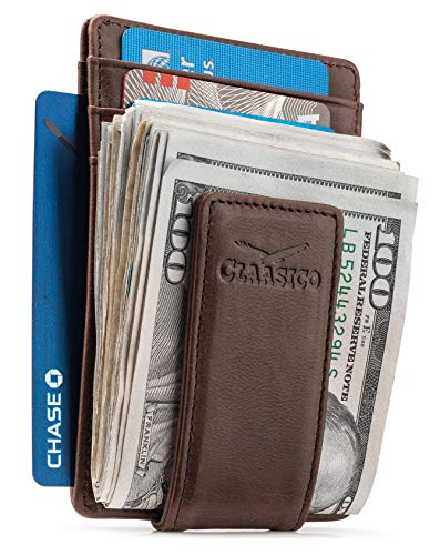 Money Clip Leather Wallet For Men Slim Front Pocket RFID Blocking with Super Strong Magnetic