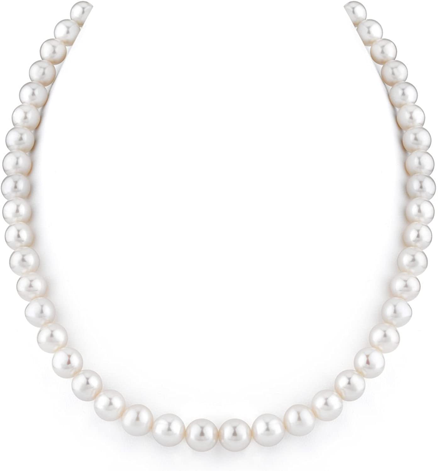 THE PEARL SOURCE 14K Gold 8-9mm AAAA Quality White Freshwater Cultured Pearl Necklace for Women in 17