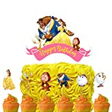 Set of Acrylic Beauty and The Beast Happy Birthday Cake Topper, Princess Belle Theme Birthday Party Suppliers, Disney Princess Cake Decoration