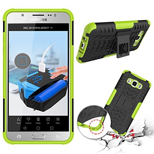 Funda híbrida de doble capa desmontable [Kickstand] 2 en 1 resistente a los golpes, resistente a prueba de golpes, compatible con Samsung Galaxy J5 2016 J510 (color verde)