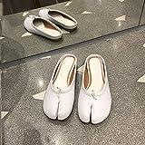 TAYIBO Sandales Antidérapantes pour Femmes Et Hommes,Sandales à Bout Fendu, Bouts Plats, Portant des Chaussures de Pied de Cochon-Blanc_35