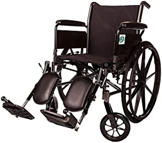 Lightweight Folding Transport Wheelchair by Healthline Trading, Ultra Light Manual Medical Wheelchair, Comfortable Detachable Full Arm and Removable Elevating Legrests, 20 Inch