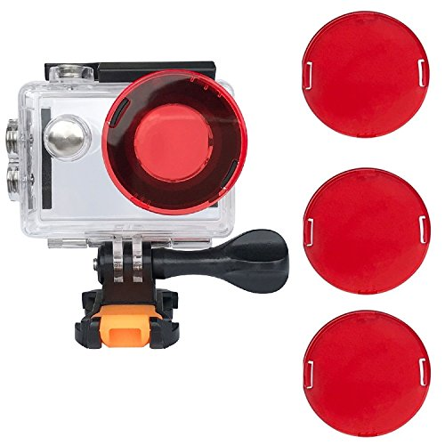 VVHOOY Waterproof Case Dive Housing Protective Underwater Dive Case Shell with 3 Pack Red Filter Compatible with AKASO EK7000/EKEN H9R/REMALI/FITFORT/DROGRACE WP350 Action Camera