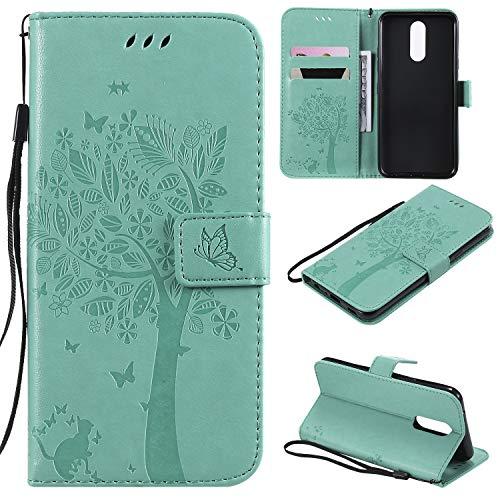Nancen Compatible with Handyhülle LG K40 / K12 Plus Hülle, Flip-Hülle Handytasche - Standfunktion Brieftasche & Kartenfächern - Baum & Katze - Green