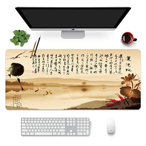 AUYTQ Large Gaming Mouse Pad, Chinese Ink Writing 100X50Cm with Non-Slip Base,Waterproof and Foldable Pad,Extended XXL Size,Desktop Pad Suitable for Gamers,Suitable for Desktop,Office and Home
