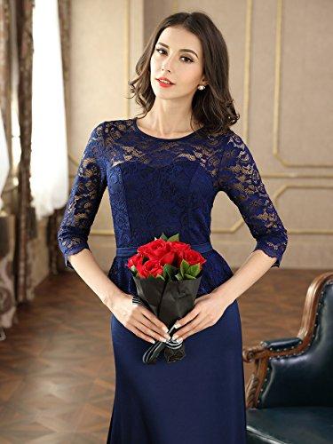 Miusol Damen Abendkleid 3/4 Arm Elegant Spitzen Kleid Brautjungfer Langes Cocktailkleid Navy Blau Gr.M - 7