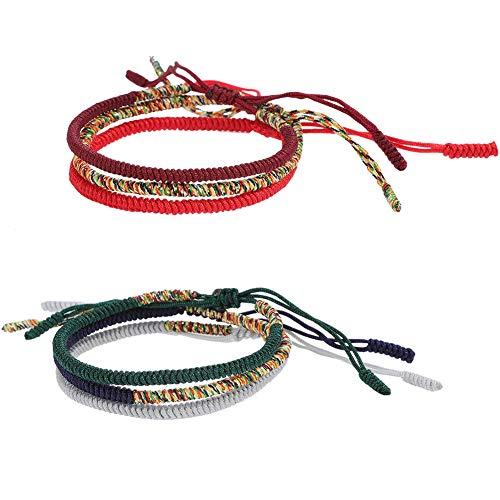 6 pulseras tibetanas hechas a mano con nudos de cuerda, pulsera de la amistad hecha a mano