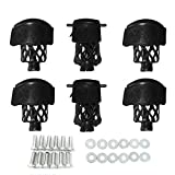 Boshen Pack of 6 PU Leather Black Pool Table Pockets Billiard Table Web Shield Set Drop Bag Nets with Diamond Pattern Screws Include