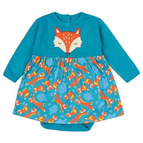 Piccalilly Body vestido para bebé, suave algodón orgánico jersey, diseño de zorro azul