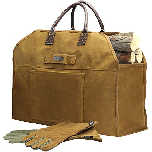 INNO STAGE Firewood Log Carrier Bag Waxed Canvas Tote Holder with Fireplace Pure Leather Gloves for Hay Hauling Outdoor Camping