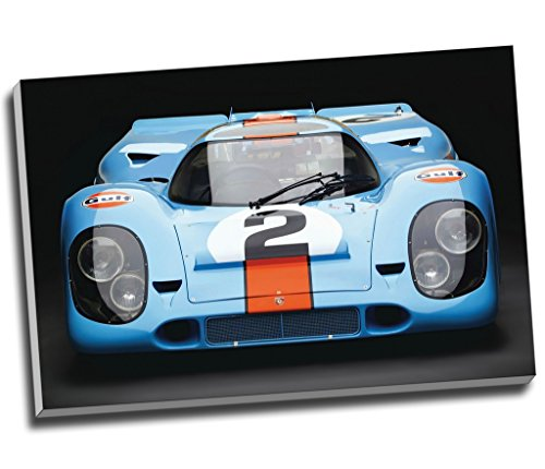 """Kunstdruck auf Leinwand """"Porsche 917 Gulf Le Mans"""", Wandkunst, großes A1-Format,76,2x 50,8cm"""