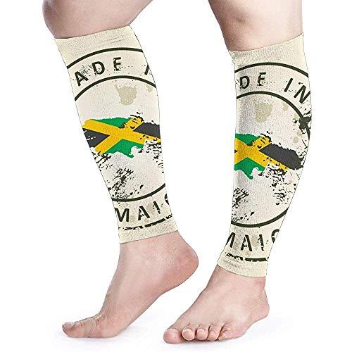 Kalf Been Compressie Sleeve voor Mannen Stempel met Kaart Vlag Jamaica Reizen Spataderen Arm Koeling Cover