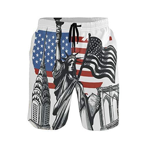 United States Landmark Map XXL Teen Boys Short Swim Trunks Swimsuit for Men Mens Bathing Suits