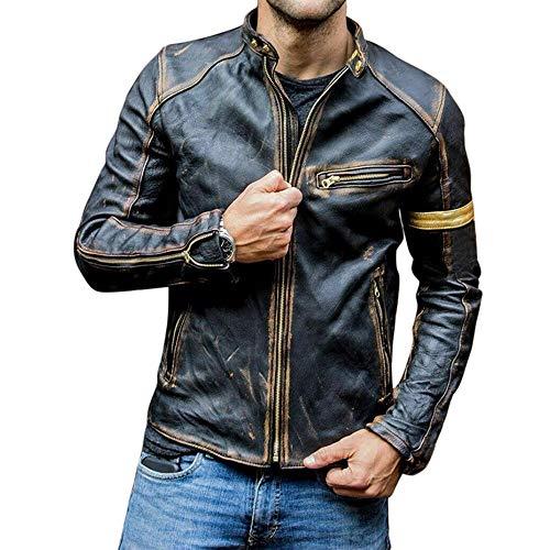 Esobo Fashion Men's Biker Vintage Motorcycle Leather Jacket (Black,Medium)