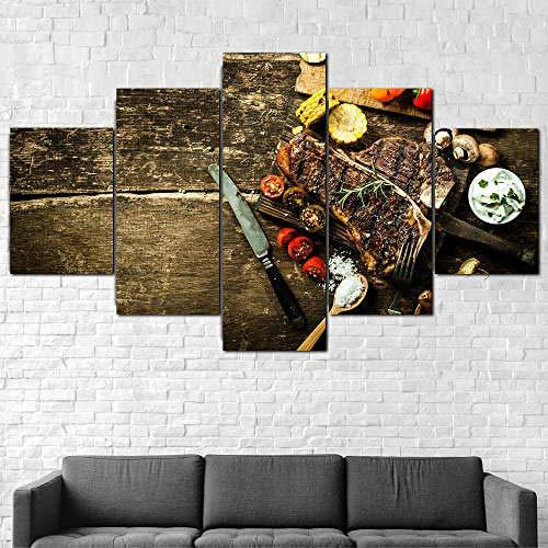 IMXBTQA Impresión En Lienzo 5 Piezas Cuadro sobre Lienzo,5 Piezas Cuadro En Lienzo,5 Piezas Lienzo Decorativo,5 Piezas Lienzo Pintura Mural,Regalo,Decoración Hogareña Steak Restaurante Cocina Comida