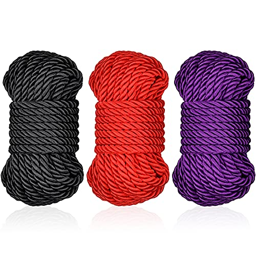 Braided Twisted Silk Ropes 8mm Diameter Soft Solid Braided Twisted Ropes Decorative Twisted Satin Shiny Cord Rope for All Purpose and DIY Craft (Black, Red, Purple,3 Pieces)