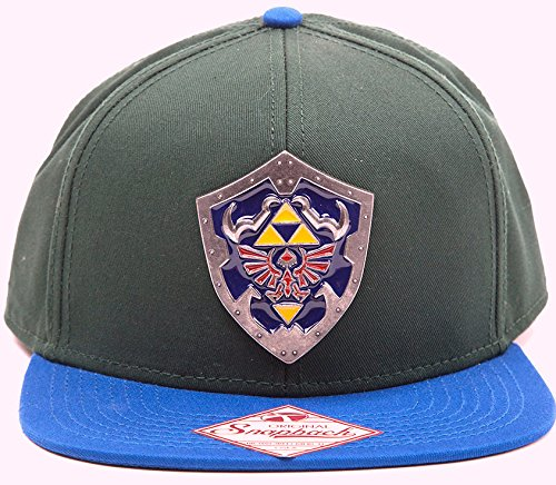 Zelda Cap Triforce Logo Metal Shield Baseball Cap kompatibel mit Nintendo Schirmmütze Flat Bill Snapback Kappe