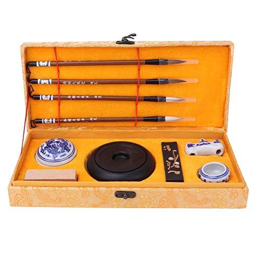 Chinesische traditionelle Kalligraphie Set Studie Pinsel Stift/Tinte/Papier/Tinte Stein vier Schätze mit Fall schriftlich Malerei Set