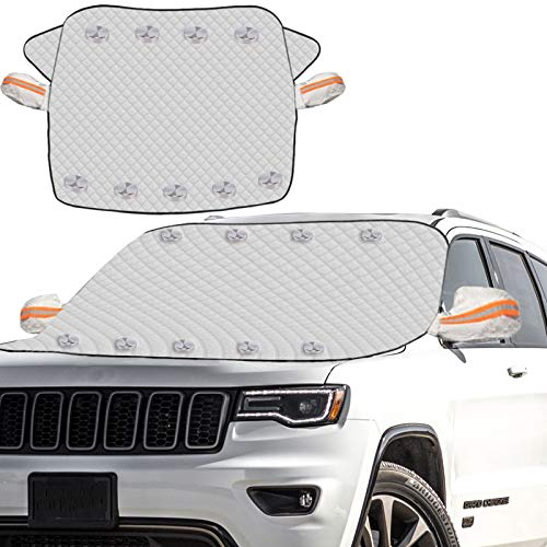Meddom Windshield Snow Cover, Car Windshield Snow Cover with 4 Layers Protection[2020 Upgraded], Windshield Cover for Ice/Snow/Frost, Fits Most Cars and SUV