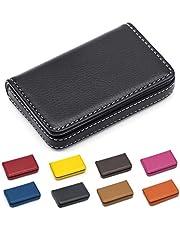 Padike - Porta carte di credito in pelle PU, con nome aziendale, per uomini e donne, per tenere puliti i biglietti da visita, colore: nero