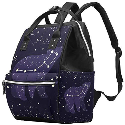 Multifunktions-Wickeltasche, Rucksack, kleiner Bär, Sternbild in der Nacht, Sternenhimmel, Muster, Wickeltasche, Reiserucksack für Mama und Papa