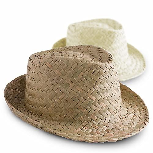 ANTEVIA - Lot de 2 Chapeaux de Paille Unisexe pour Adulte   Plus DE 30 MODÈLES   Femme Homme Panama   Matière : Paille  Couleurs : Beige Blanc (Zelio)
