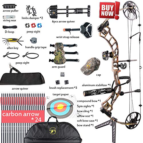 Compound Bow,Compound Hunting Bow Kit,CNC Milling Bow Riser,Limbs Made in USA,19'-30' Draw Length,19-70Lbs Draw Weight,Up to 320FPS, (2 Years Warranty) Ship from USA Warehouse(Arrives: 3-5 days)