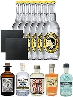 Gin Probierset Monkey, Duke,Siegfried, Saffron, London Blue  6 x Thomas Henry Tonic Water 0,2 Liter